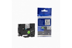 Brother TZ-FX211/TZe-FX211, 6mm x 8m, flexi, fekete nyomtatás / fehér alapon, kompatibilis szalag
