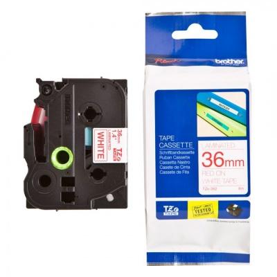 Brother TZ-262 / TZe-262, 36mm x 8m, piros nyomtatás / fehér alapon, kompatibilis szalag