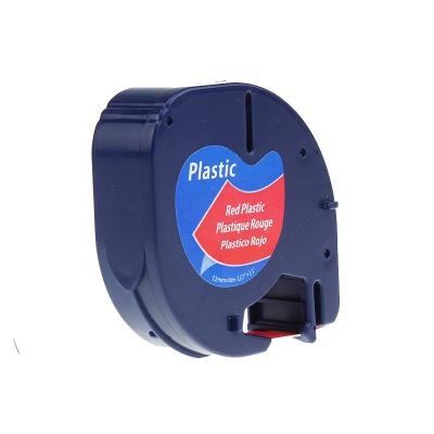 Dymo 59424, S0721580 / 91203, S0721630, 12mm x 4m, fekete nyomtatás / piros alapon, kompatibilis szalag