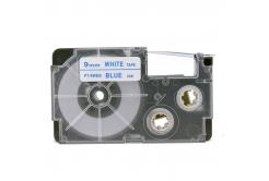 Utángyártott szalag Casio XR-9WEB 9mm x 8m kék nyomtatás / fehér alapon