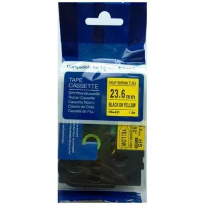 Brother HSe-651 23,7mm x 1,5m, fekete nyomtatás / sárga alapon, kompatibilis szalag