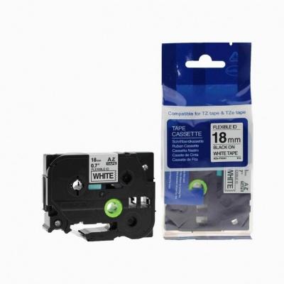 Brother TZ-FX241/TZe-FX241, 18mm x 8m, flexi, fekete nyomtatás / fehér alapon, kompatibilis szalag