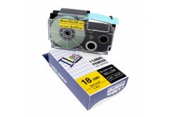 Utángyártott szalag Casio R11YW 18mm x 2,5m zsugorcső, fekete nyomtatás / sárga alapon