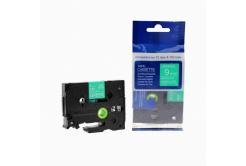 Brother TZ-725 / TZe-725, 9mm x 8m, fehér nyomtatás / zöld alapon, kompatibilis szalag