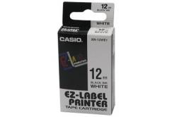 Casio XR-12WE1, 12mm x 8m, fekete nyomtatás / fehér alapon, eredeti szalag