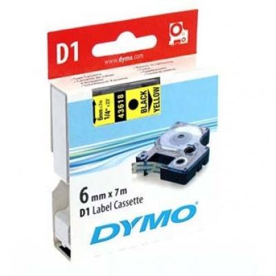 Dymo D1 43618, S0720790, 6 mm x 7m, fekete nyomtatás / sárga alapon, eredeti szalag