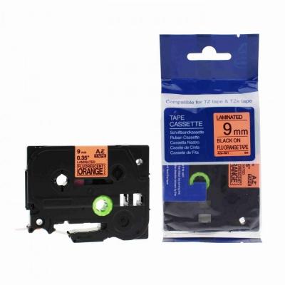 Brother TZ-B21/TZe-B21, rikítós 9mm x 8m, fekete nyomtatás/narancs alapon, kompatibilis szalag