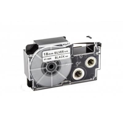 Casio XR-18SR1 18mm x 8m fekete nyomtatás / ezüst alapon, kompatibilis szalag