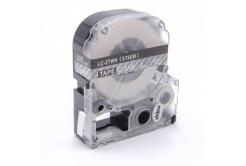 Epson LC-ST6SW, 6mm x 8m, fehér nyomtatás / átlátszó alapon, utángyártott szalag