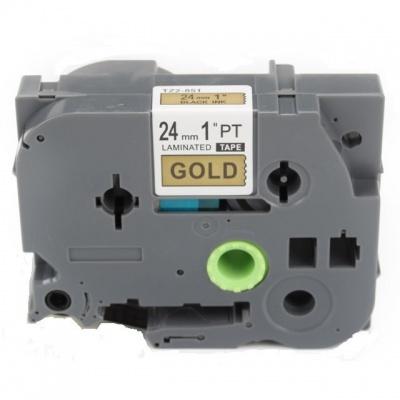 Brother TZ-851 / TZe-851, 24mm x 8m, fekete nyomtatás / arany alapon, kompatibilis szalag