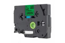 Brother TZ-FX721 / TZe-FX721, 9mm x 8m, flexi, fekete nyomtatás / zöld alapon, kompatibilis szalag