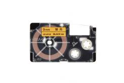Casio XR-9FOE , 9mm x 8m, fekete nyomtatás /fluoreszkáló narancssárga alapon, utángyártott szalag
