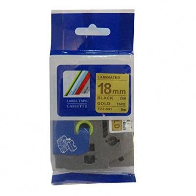 Brother TZ-841 / TZe-841, 18mm x 8m, fekete nyomtatás / arany alapon, kompatibilis szalag