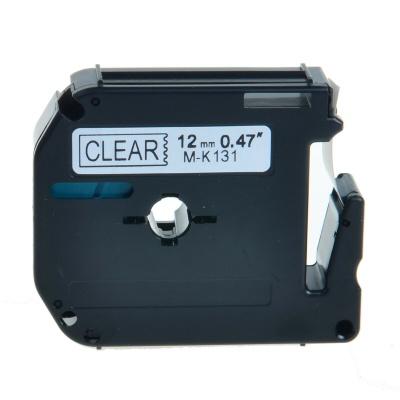 Brother MK-131, 12mm x 8m, fekete nyomtatás / átlátszó alapon, kompatibilis szalag