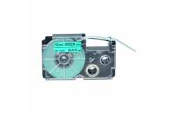 Casio XR-12GN1, 12mm x 8m fekete nyomtatás / zöld alapon, kompatibilis szalag