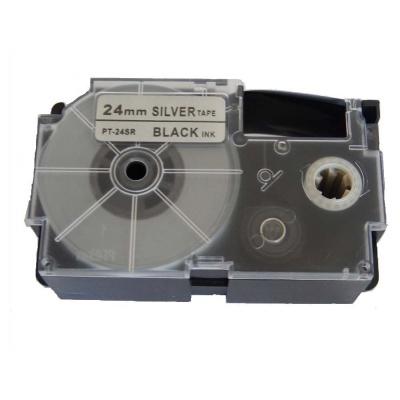 Casio XR-24SR1 24mm x 8m fekete nyomtatás / ezüst alapon, kompatibilis szalag