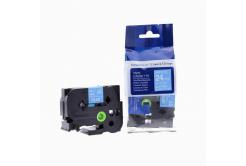 Brother TZ-555 / TZe-555, 24mm x 8m, fehér nyomtatás / kék alapon, kompatibilis szalag