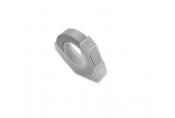 Dymo Omega, 9mm x 3m, fehér nyomtatás / ezüst alapon, kompatibilis szalag