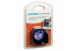 Dymo LetraTag 12267, S0721530, 12mm x 4m, fekete nyomtatás/átlátszó alapon, eredeti szalag