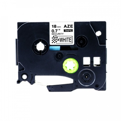 Brother TZ-SE4/TZe-SE4, 18mm x 8m, biztonsági, fekete nyomtatás / fehér alapon, kompatibilis szalag