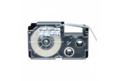 Casio XR-12X1, 12mm x 8m fekete nyomtatás / átlátszó alapon, kompatibilis szalag