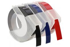 Dymo S0847750, 9mm x 3 m, fehér nyomtatás/fekete, kék, piros, 3 db, kompatibilis szalag