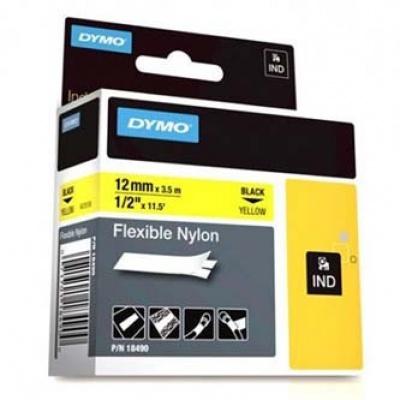 Dymo Rhino 18490, S0718080, 12mm x 3,5m fekete nyomtatás / sárga alapon, eredeti szalag