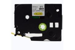 Brother HSe-621 8,8mm x 1,5m, fekete nyomtatás / sárga alapon, kompatibilis szalag
