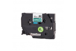 Brother TZ-735 / TZe-735, 12mm x 8m, fehér nyomtatás / zöld alapon, kompatibilis szalag