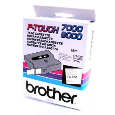 Brother TX-251, 24mm x 15m, fekete nyomtatás / fehér alapon, eredeti szalag