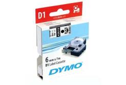 Dymo D1 43610, S0720770, 6mm x 7m fekete nyomtatás / átlátszó alapon, eredeti szalag