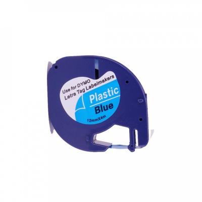 Dymo 59426, S0721600 / S0721650, 12mm x 4m, fekete nyomtatás / kék alapon, kompatibilis szalag