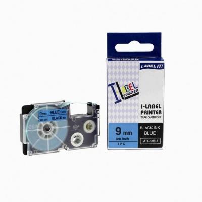 Casio XR-9BU1, 9mm x 8m fekete nyomtatás / kék alapon, kompatibilis szalag