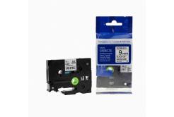 Brother TZ-FX221/TZe-FX221, 9mm x 8m, flexi, fekete nyomtatás / fehér alapon, kompatibilis szalag