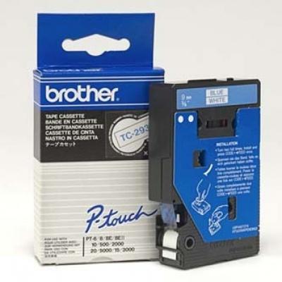 Brother TC-293, 9mm x 7,7m, kék nyomtatás / fehér alapon, eredeti szalag