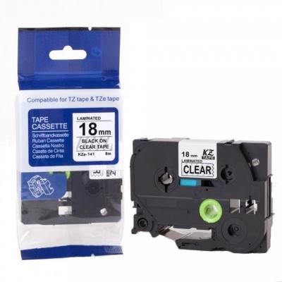 Brother TZ-S141/TZe-S141 18mm x 8m erősen ragadó, fekete nyomtatás/átlátszó alapon, kompatibilis szalag