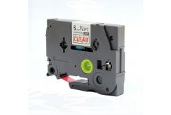 Utángyártott szalag Brother TZ-112 / TZe-112, 6mm x 8m, piros nyomtatás / átlátszó alapon