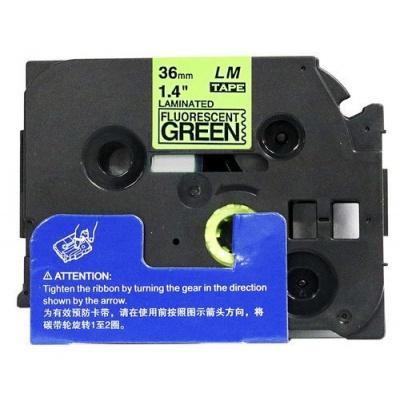 Brother TZ-D61/TZe-D61, rikítós 36mm x 8m, fekete nyomtatás/zöld alapon, kompatibilis szalag