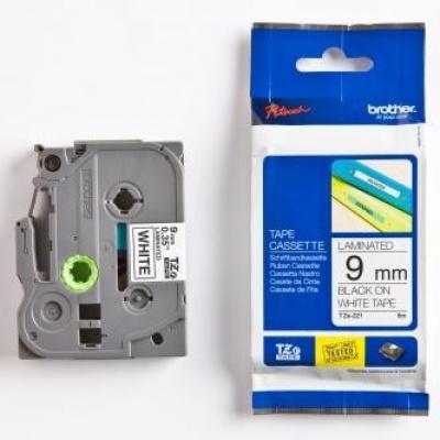 Brother TZ-221 / TZe-221, 9mm x 8m, fekete nyomtatás / fehér alapon, eredeti szalag