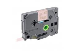 Brother TZ-RE34 / TZE-RE34, 12mm x 4m, arany nyomtatás / rózsaszínű alapon, eredeti szalag