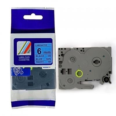 Brother TZ-511 / TZe-511, 6mm x 8m, fekete nyomtatás / kék alapon, kompatibilis szalag