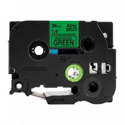 Brother TZ-S761 / TZe-S761, 36mm x 8m, extr.adh. fekete nyomtatás / zöld alapon, kompatibilis szalag