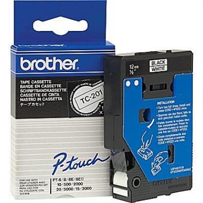 Brother TC-201, 12mm x 7,7m, fekete nyomtatás / fehér alapon, eredeti szalag