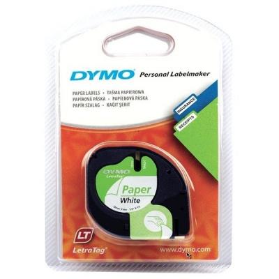 Dymo LetraTag 59421, S0721500, 12mm x 4m fekete nyomtatás / fehér alapon, eredeti szalag