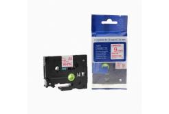 Brother TZ-222 / TZe-222, 9mm x 8m, piros nyomtatás / fehér alapon, kompatibilis szalag