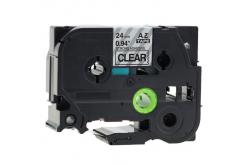 Brother TZ-S151/TZe-S151 24mm x 8m erősen ragadó, fekete nyomtatás/átlátszó alapon, kompatibilis szalag