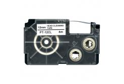 Casio XR-12CL, 12mm x 4m, fekete nyomtatás / fehér alapon, tisztítás, kompatibilis szalag