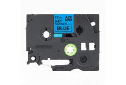 Brother TZ-FX531 / TZe-FX531,12mm x 8m, flexi, fekete nyomtatás / kék alapon, kompatibilis szalag