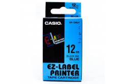 Casio XR-12BU1, 12mm x 8m, fekete nyomtatás / kék alapon, eredeti szalag