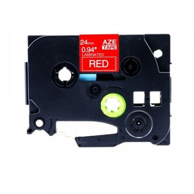 Brother TZ-455 / TZe-455, 24mm x 8m, fehér nyomtatás / piros alapon, kompatibilis szalag
